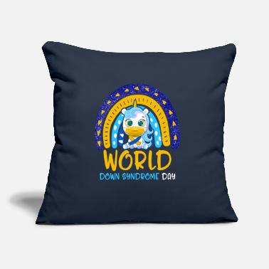"Yellow World Down Syndrome Day Awareness Shirt Lover - Throw Pillow Cover 18"" x 18"""