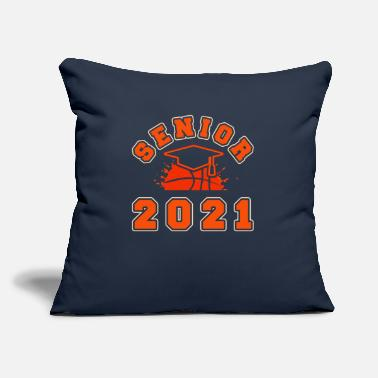 "3 Point Basketball Senior 2021 Courts Graduation Graduate - Throw Pillow Cover 18"" x 18"""