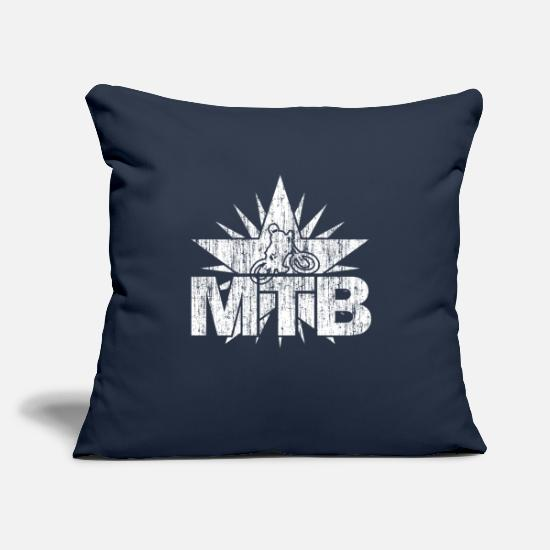 "Grungy Pillow Cases - mountain bike mtb cycling biking downhill freeride - Throw Pillow Cover 18"" x 18"" navy"