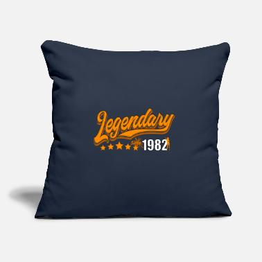 "Congratulations Legendary since 1982, orange - Throw Pillow Cover 18"" x 18"""