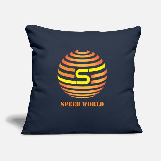 "Speed Pillow Cases - Speed World - Throw Pillow Cover 18"" x 18"" navy"