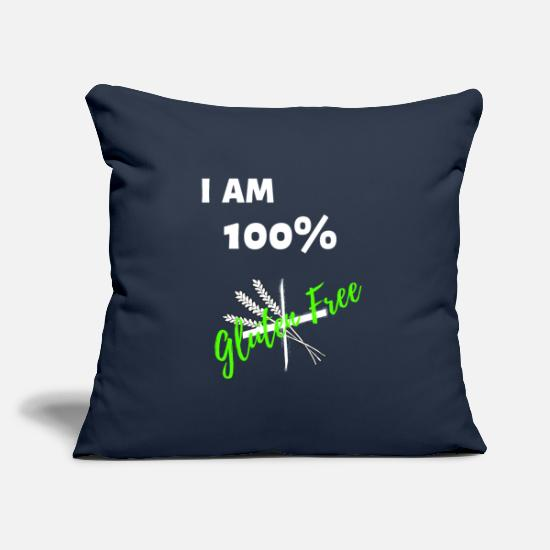 "Allergy Pillow Cases - I Am 100% Gluten Free - Throw Pillow Cover 18"" x 18"" navy"