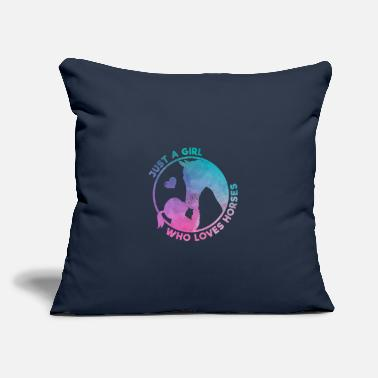 "Girl Just A Girl Who Love Horses Gift - Throw Pillow Cover 18"" x 18"""