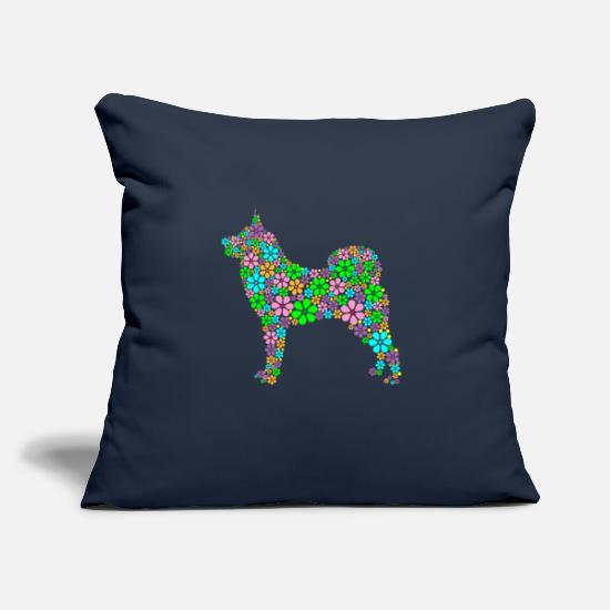 "Husky Pillow Cases - Husky Dog Breed Flowers Gift - Throw Pillow Cover 18"" x 18"" navy"