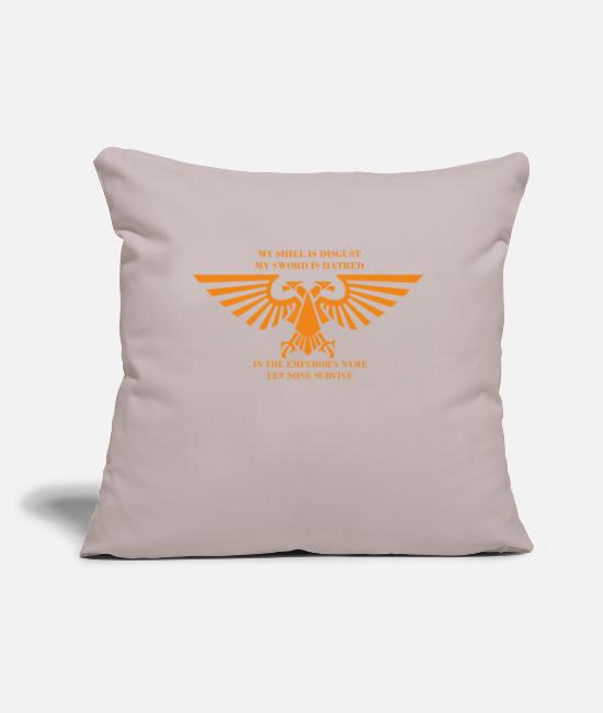 "Emperor Pillow Cases - IN THE EMPEROR S NAME - Throw Pillow Cover 18"" x 18"" light taupe"