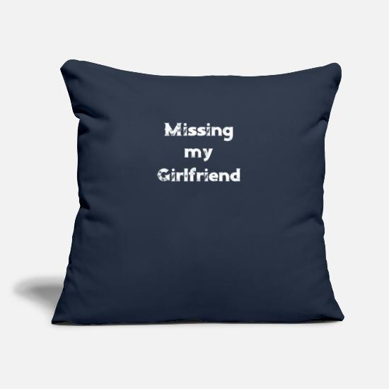 "Army Pillow Cases - Military Deployment Missing My Girlfriend Long Distance Relationships - Throw Pillow Cover 18"" x 18"" navy"