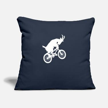 "Goat Goat Riding a Bike Funny Goat - Throw Pillow Cover 18"" x 18"""