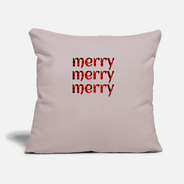 "Merry Plaid Christmas Merry Merry Merry - Throw Pillow Cover 18"" x 18"""