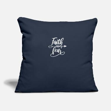 "Virus Distance Learning Faith Over Fear Arrow - Throw Pillow Cover 18"" x 18"""