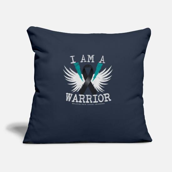 "Brother Pillow Cases - I Am Warrior - Melanoma Skin Cancer Awareness T-sh - Throw Pillow Cover 18"" x 18"" navy"
