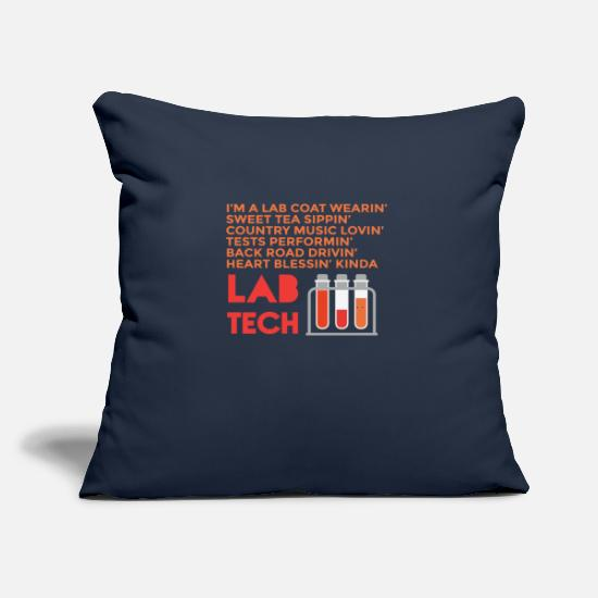"Tech Pillow Cases - Southern Lab Tech Country Lab Tech Proud Southern Laboratory Tech - Throw Pillow Cover 18"" x 18"" navy"