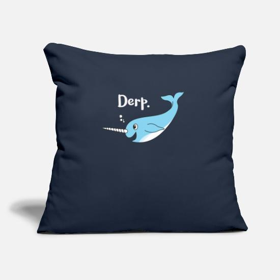 "Narwhal Pillow Cases - Derp Narwhal - Throw Pillow Cover 18"" x 18"" navy"