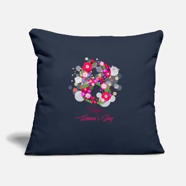"Womens Day happy women day 8 march - Throw Pillow Cover 18"" x 18"""