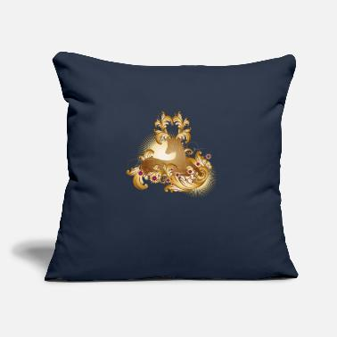 "Baroque lying deer with gold shimmering ornaments - Throw Pillow Cover 18"" x 18"""