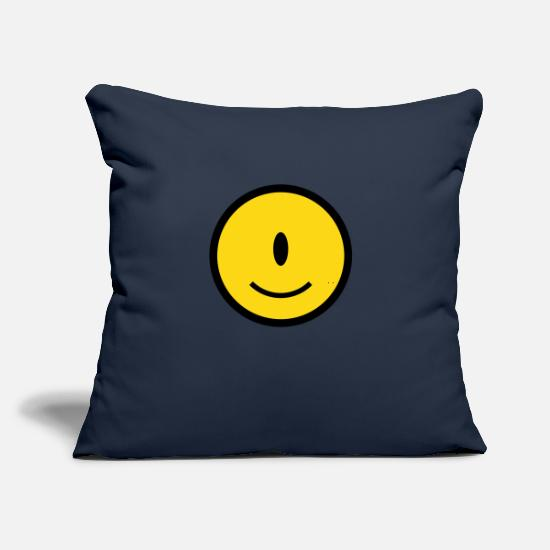 "Space Pillow Cases - Smiley Cyclops Icon 2c - Throw Pillow Cover 18"" x 18"" navy"