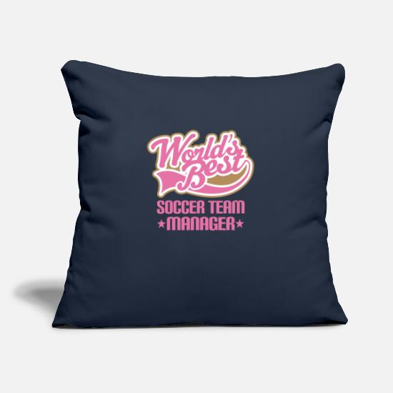 "Soccer Pillow Cases - Soccer Team Manager Gift - Throw Pillow Cover 18"" x 18"" navy"