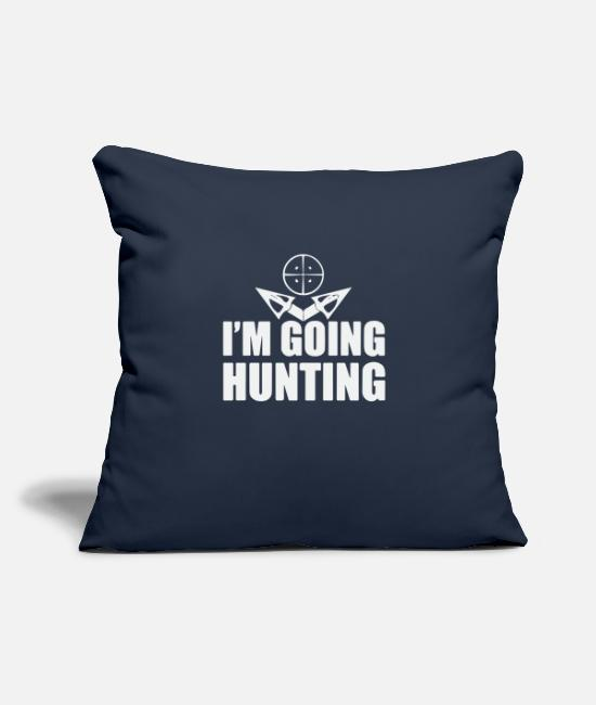 "Stag Pillow Cases - i m going Hunting - Throw Pillow Cover 18"" x 18"" navy"