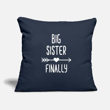 "Kids BIG SISTER FINALLY - Throw Pillow Cover 18"" x 18"""