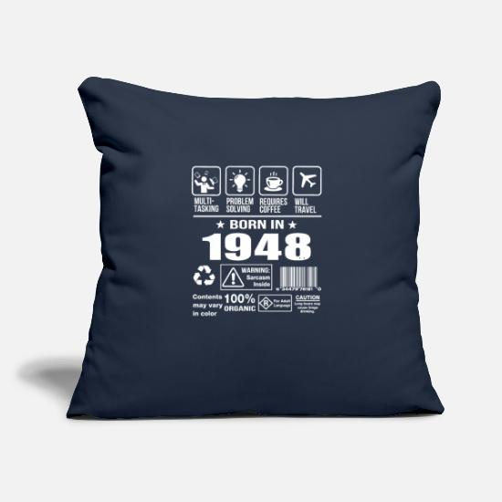 "Born In Febuary Pillow Cases - Born In 1948 - Throw Pillow Cover 18"" x 18"" navy"