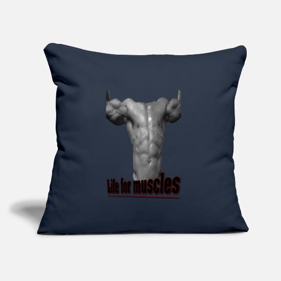"Muscular Pillow Cases - Live for muscles - Throw Pillow Cover 18"" x 18"" navy"