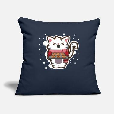 "Sheet Cat Christmas Baking Cookies For Santa Kitty Gift - Throw Pillow Cover 18"" x 18"""