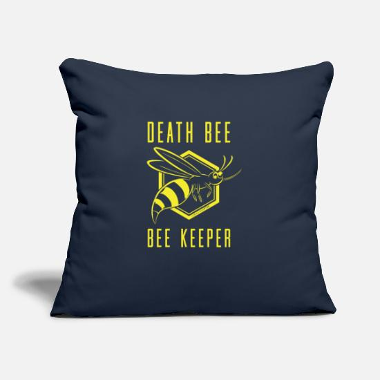 "Bee Pillow Cases - Death Bee Bee Keeper - Throw Pillow Cover 18"" x 18"" navy"