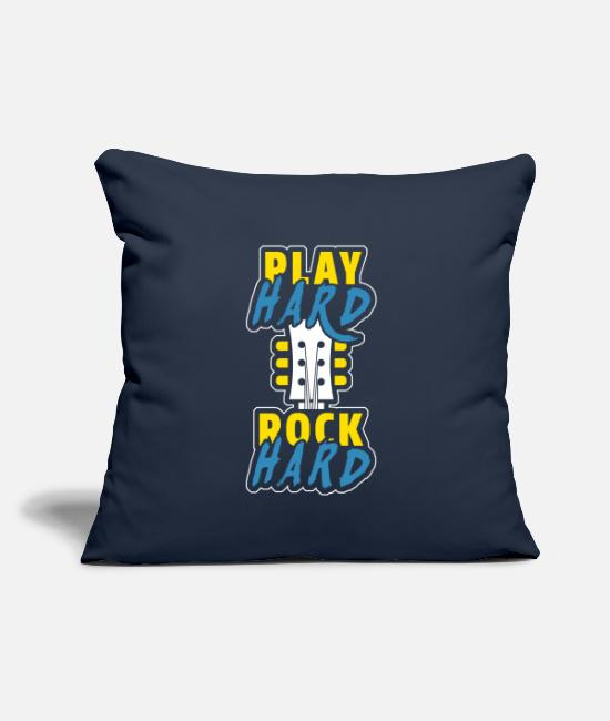 "Song Pillow Cases - PLAY hard ROCK hard - Throw Pillow Cover 18"" x 18"" navy"