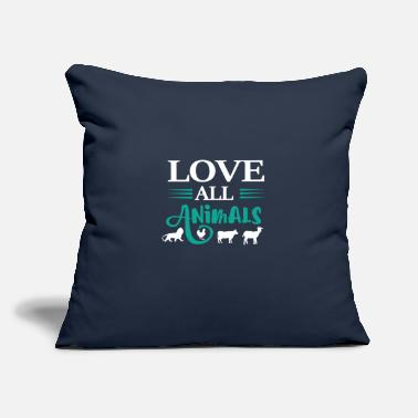 "Animals Love All Animals Tee Shirts - Throw Pillow Cover 18"" x 18"""
