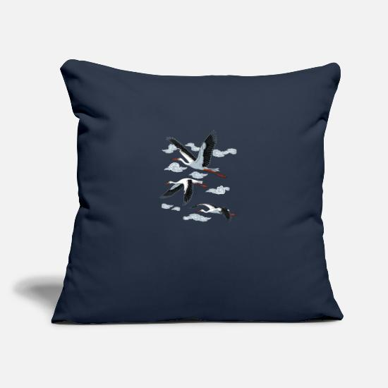 "Idea Pillow Cases - Stork - Throw Pillow Cover 18"" x 18"" navy"