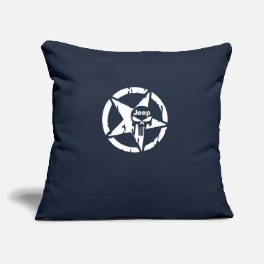 "Cool Jeep skull - Throw Pillow Cover 18"" x 18"""