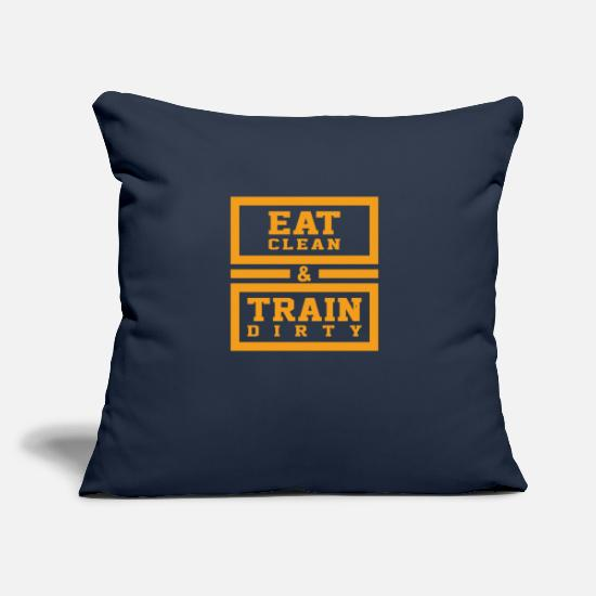 "Clean Pillow Cases - Eat clean and train dirty - Throw Pillow Cover 18"" x 18"" navy"