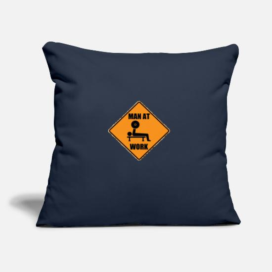 "Man Pillow Cases - Man At Work - Throw Pillow Cover 18"" x 18"" navy"