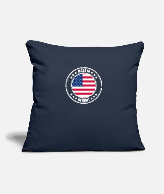 "Usa Pillow Cases - DETROIT - Throw Pillow Cover 18"" x 18"" navy"