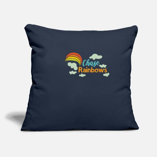 "Rainbow Pillow Cases - Rainbow Chase Rainbows - Throw Pillow Cover 18"" x 18"" navy"