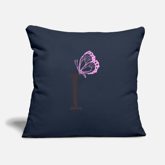 "Pretty Pillow Cases - initial I - Throw Pillow Cover 18"" x 18"" navy"
