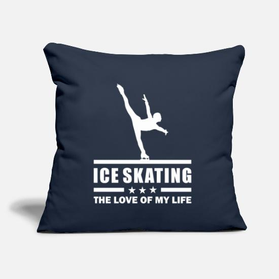 "Gift Idea Pillow Cases - Ice Skating Girl - The Love Of My Life - Throw Pillow Cover 18"" x 18"" navy"