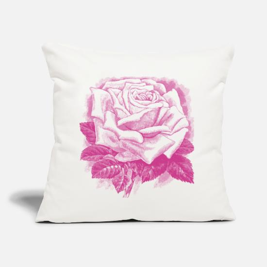 "Goodies Pillow Cases - rose vintage skatch - Throw Pillow Cover 18"" x 18"" natural white"