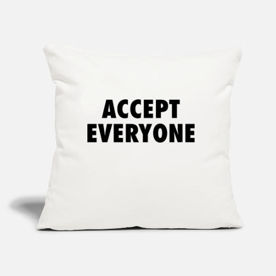 "Inclusion Pillow Cases - Accept Everyone - Throw Pillow Cover 18"" x 18"" natural white"