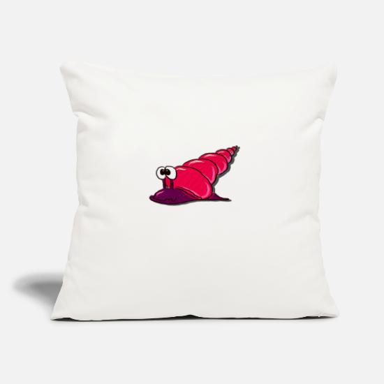 "Snail Pillow Cases - pink Snail - Throw Pillow Cover 18"" x 18"" natural white"