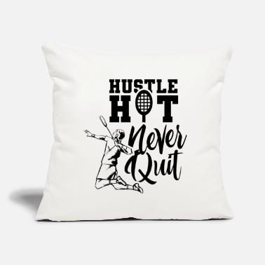 "Badminton Hustle Hot Never Quit Badminton Player - Throw Pillow Cover 18"" x 18"""