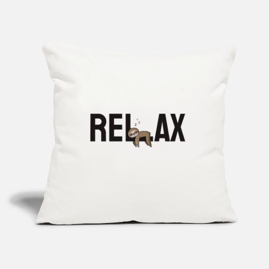 "Relax Pillow Cases - Relax and Hang out! Sloth - Throw Pillow Cover 18"" x 18"" natural white"