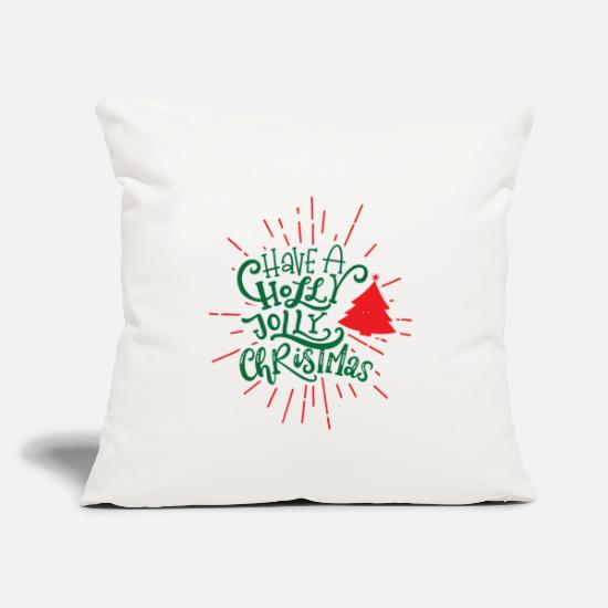 "Holly Pillow Cases - Have A holly Jolly Christmas - Throw Pillow Cover 18"" x 18"" natural white"