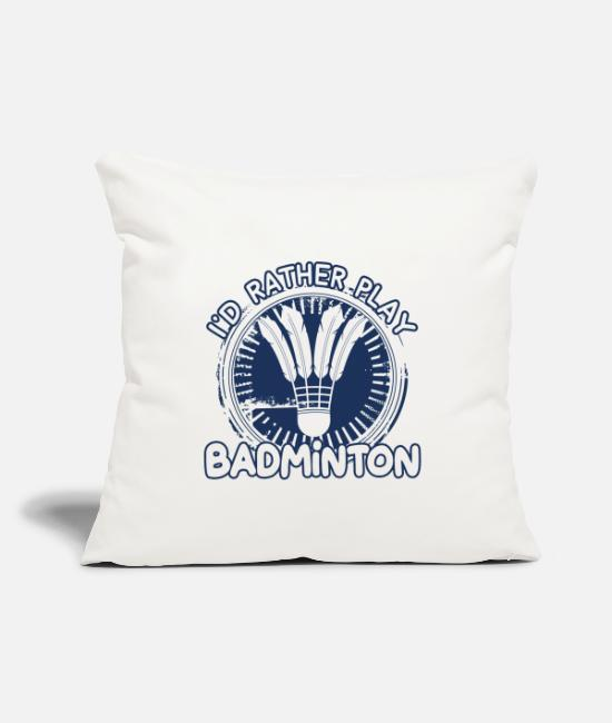 "Tennis Pillow Cases - Badminton Badminton Badminton Badminton - Throw Pillow Cover 18"" x 18"" natural white"