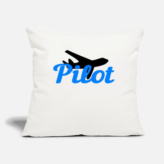 "Pilot Pillow Cases - Pilot Pilots - Throw Pillow Cover 18"" x 18"" natural white"