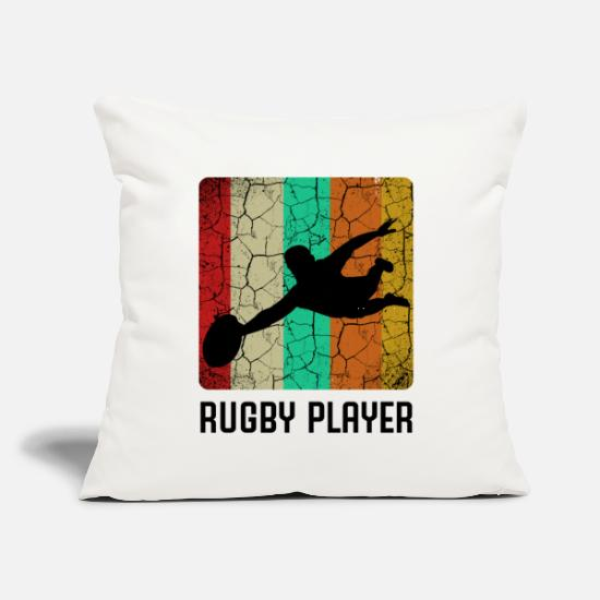 "Rugby Pillow Cases - Rugby - Throw Pillow Cover 18"" x 18"" natural white"