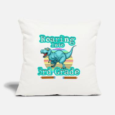 "Dinosaur Roaring Into 3rd Third Grade Back To School - Throw Pillow Cover 18"" x 18"""