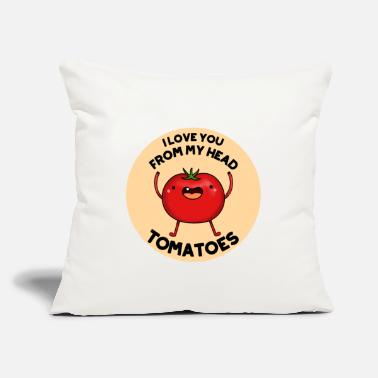"Art I Love You From My Head Tomatoes Cute Tomato Pun - Throw Pillow Cover 18"" x 18"""