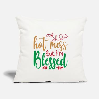 "Christmas Singing Hot Mess But I'm Blessed - Christmas - Throw Pillow Cover 18"" x 18"""