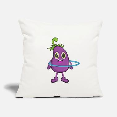 "Comic Eggplant Vegetable Sport Yoga - Throw Pillow Cover 18"" x 18"""