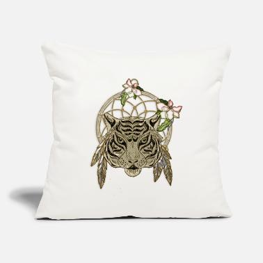 "Tiger with dreamcatcher and flowers - Throw Pillow Cover 18"" x 18"""